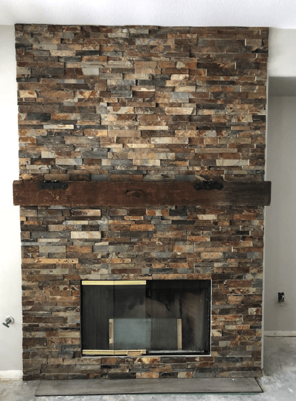 Custom ledger stone fireplace in Valencia, CA from Dave Walter Flooring Kitchens and Baths
