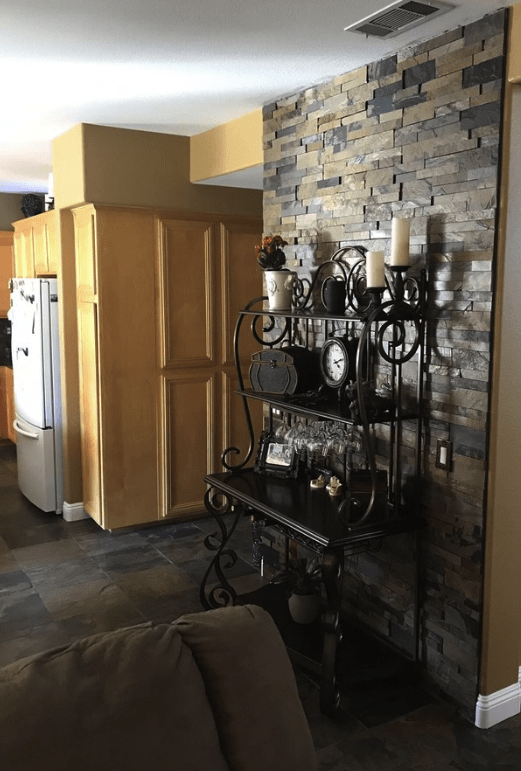Custom stone wall matching tile in Canyon Country, CA from Dave Walter Flooring Kitchens and Baths