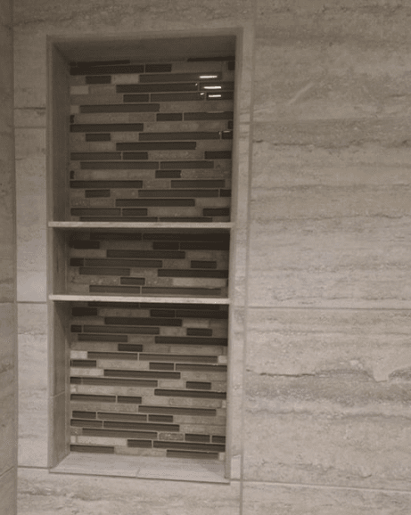 Glass tile shower shelving install in Santa Clarita, CA from Dave Walter Flooring Kitchens and Baths