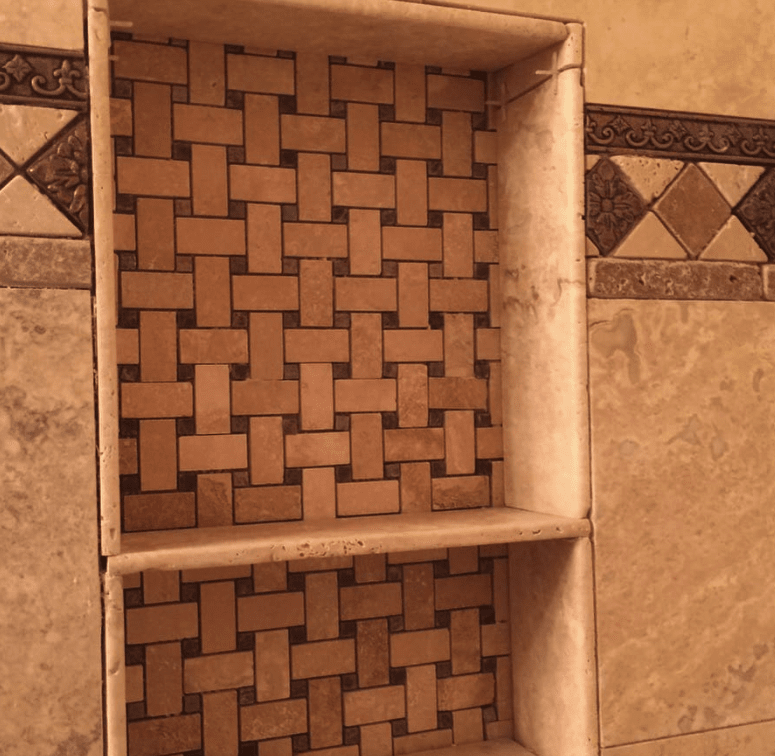 Weave-look tile pattern in Castaic, CA from Dave Walter Flooring Kitchens and Baths