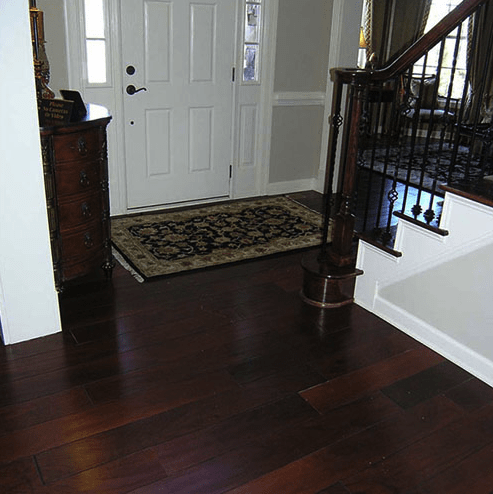 Dark tone hardwood flooring in entryway in Fuquay-Varina, NC from The Home Center Flooring & Lighting