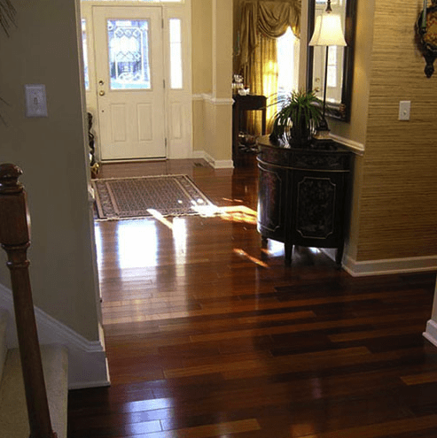 Entryway with new glossy hardwood in Fuquay-Varina, NC from The Home Center Flooring & Lighting