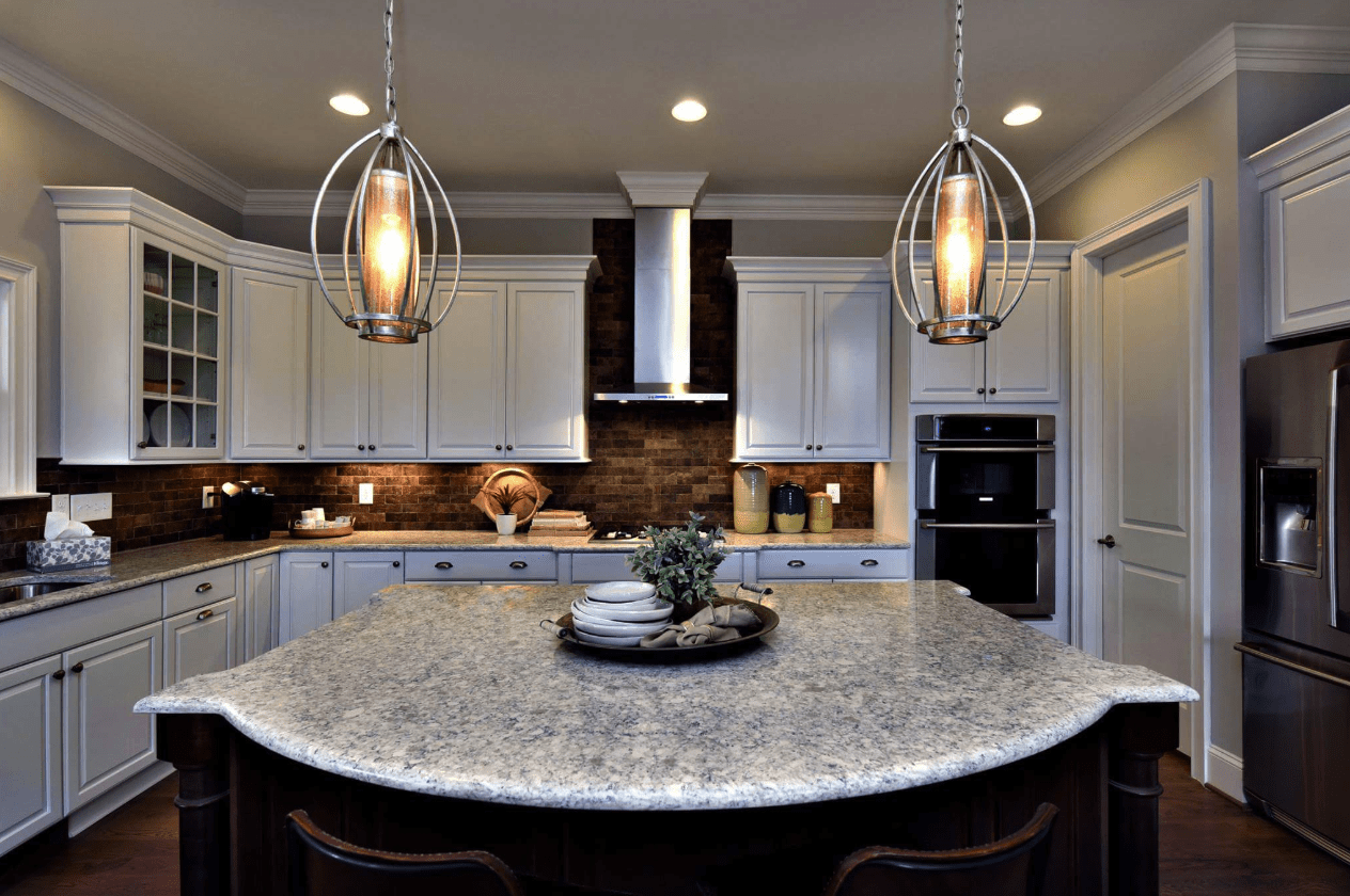 Custom kitchen island countertop in Holly Springs, NC from The Home Center Flooring & Lighting
