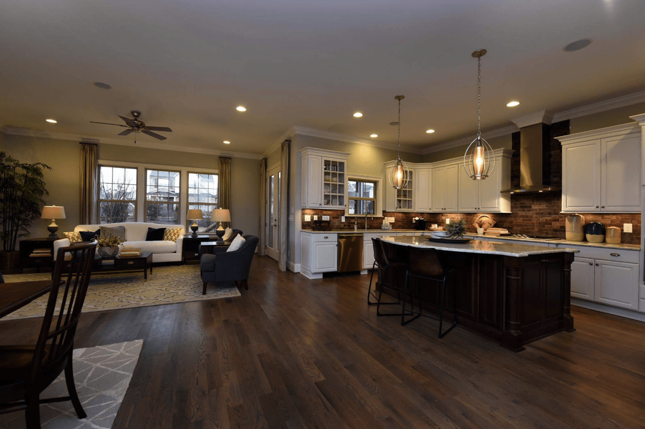 Luxury vinyl flooring through the whole living space and kitchen in Cary, NC