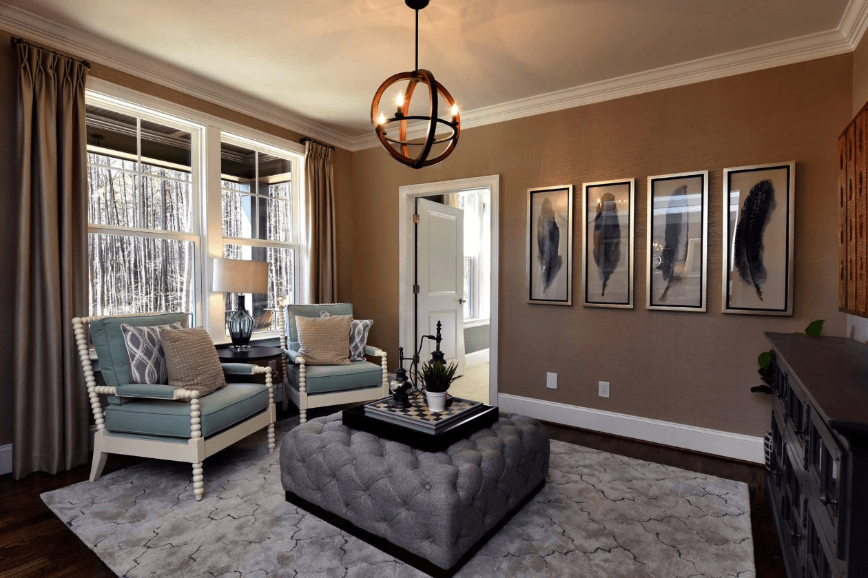 Modern sitting area with soft area rug in Cary, NC from The Home Center Flooring & Lighting