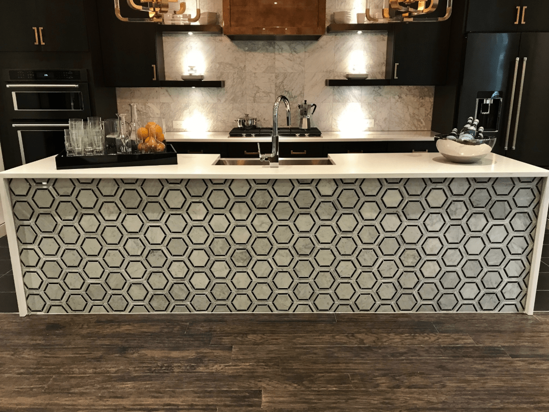 Kitchen island with beautiful tile design in Fuquay-Varina, NC from The Home Center Flooring & Lighting