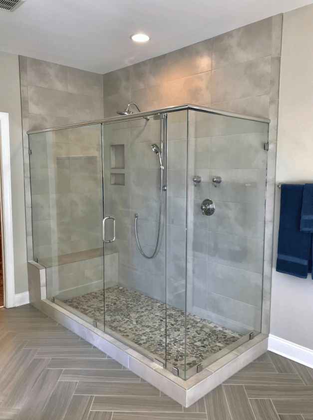 Beautiful full bathroom renovation in Apex, NC from The Home Center Flooring & Lighting