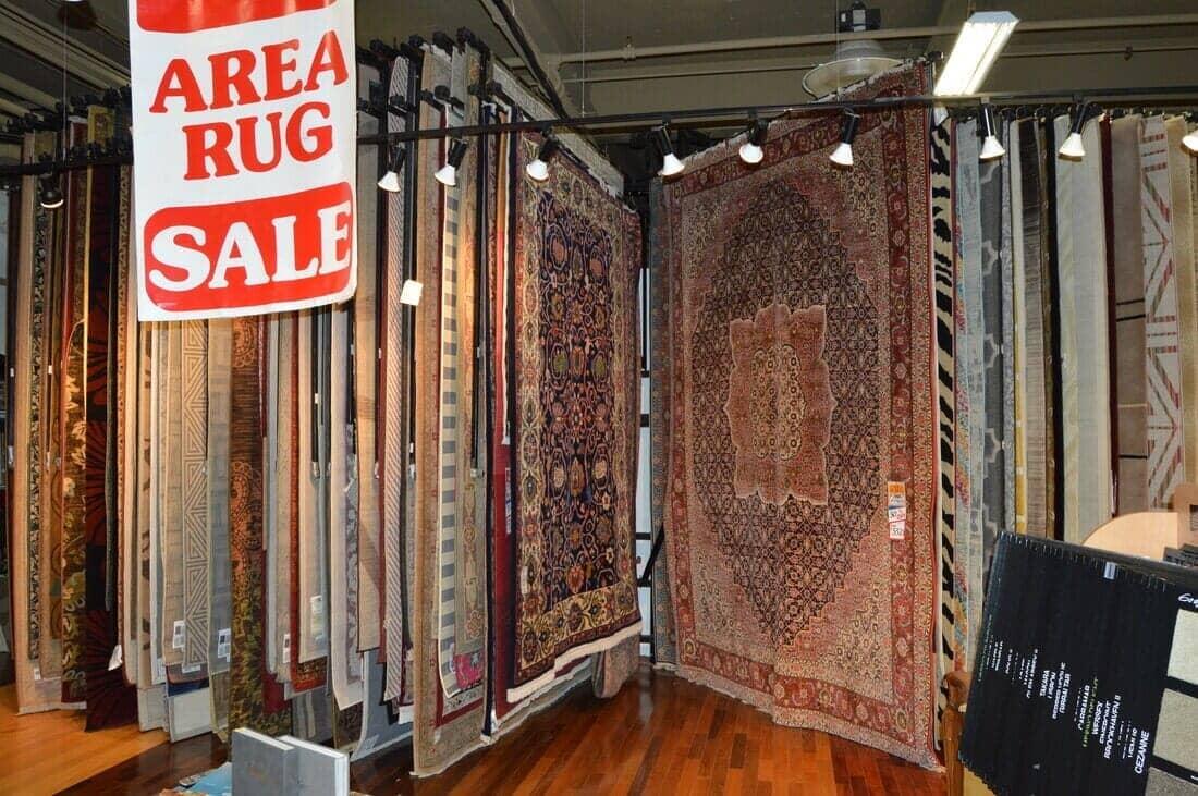 Area rugs in showroom