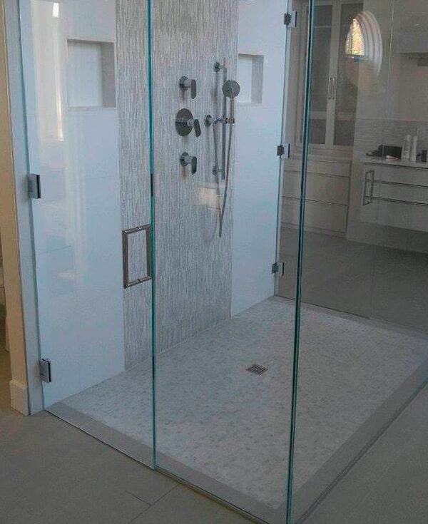 Glass shower installation from Artizan Flooring in Bremen, IN