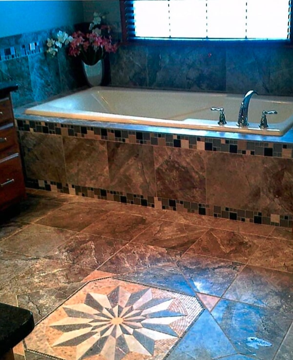 Tile tub surround installation from Artizan Flooring in Plymouth, IN