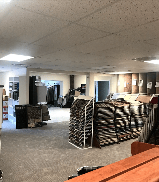 Our flooring options stacked high in Havertown, PA at Havertown Carpet Co.