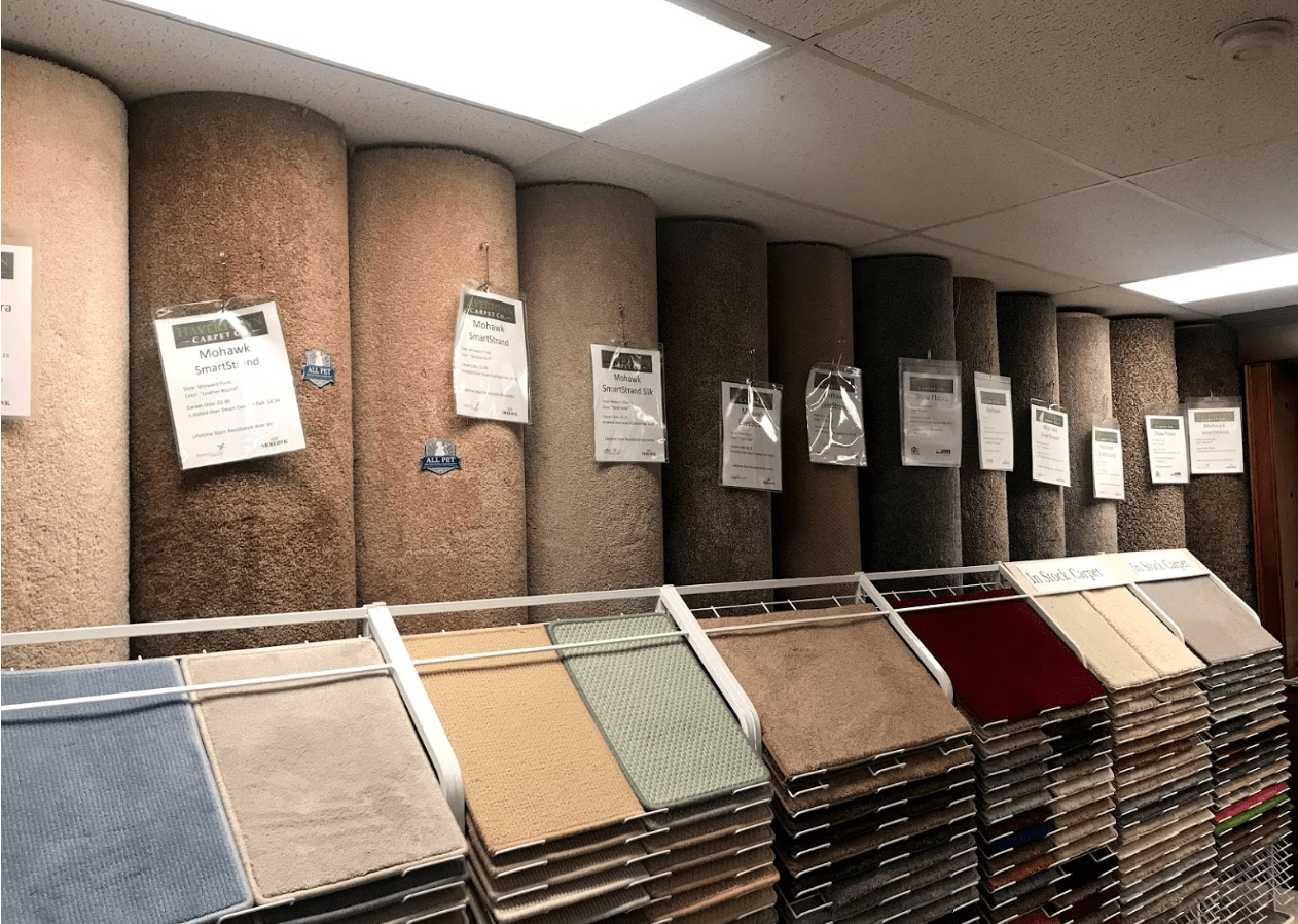 Carpet in samples and rolls ready to go at Havertown Carpet Co.
