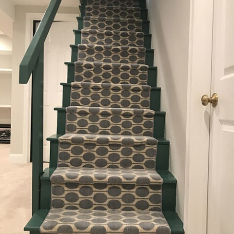 Green stairway with carpet runner in West Chester, PA from Havertown Carpet