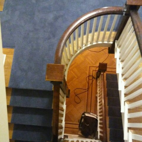 Custom dark blue stair runner in Havertown, PA from Havertown Carpet