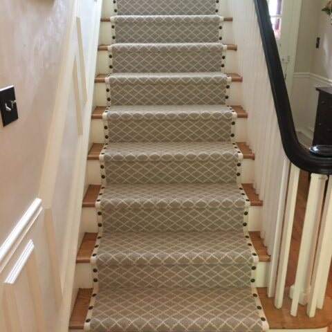 Custom patterned stair runner in West Chester, PA from Havertown Carpet