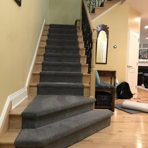 Dark blue tone stair runner in Havertown, PA from Havertown Carpet