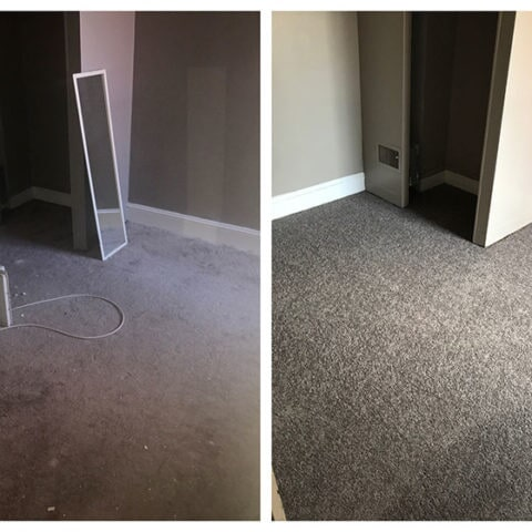 Before and after new carpet installation in Media, PA from Havertown Carpet
