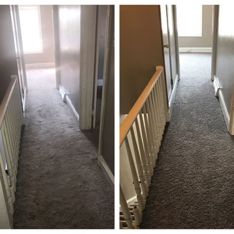 Hallway carpet before and after in Havertown, PA from Havertown Carpet