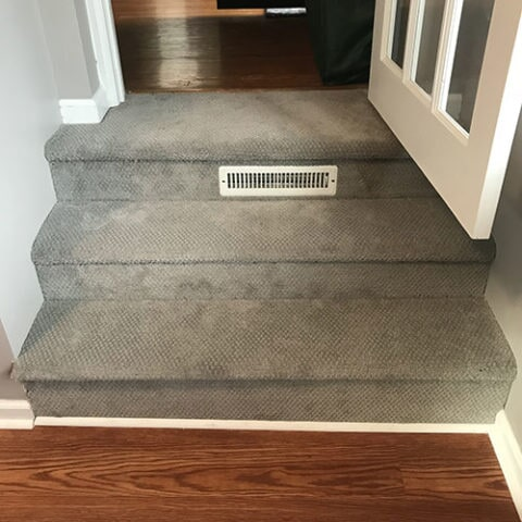 Custom carpeted stairway in multi-level home in Havertown, PA