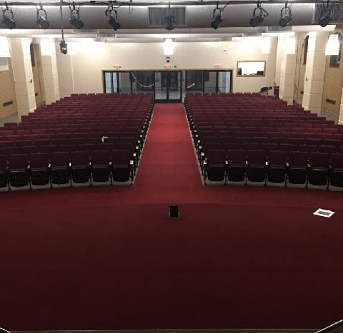 Custom carpet installation in a Havertown, PA church from Havertown Carpet