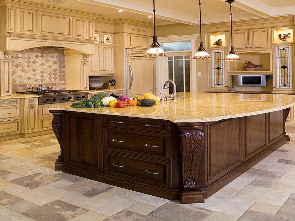 Large kitchen island installation in Galveston, TX from Baytown Floors