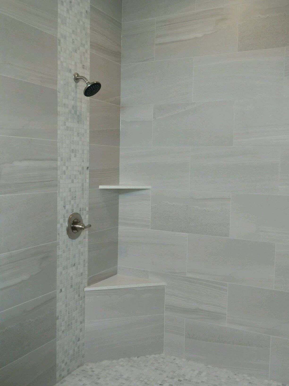 Shower with builtin shelving in Baytown, TX from Baytown Floors