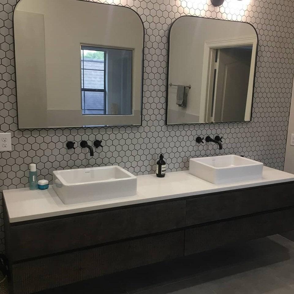 Bathroom vanity remodel in Houston, TX from Petra Flooring & Blinds