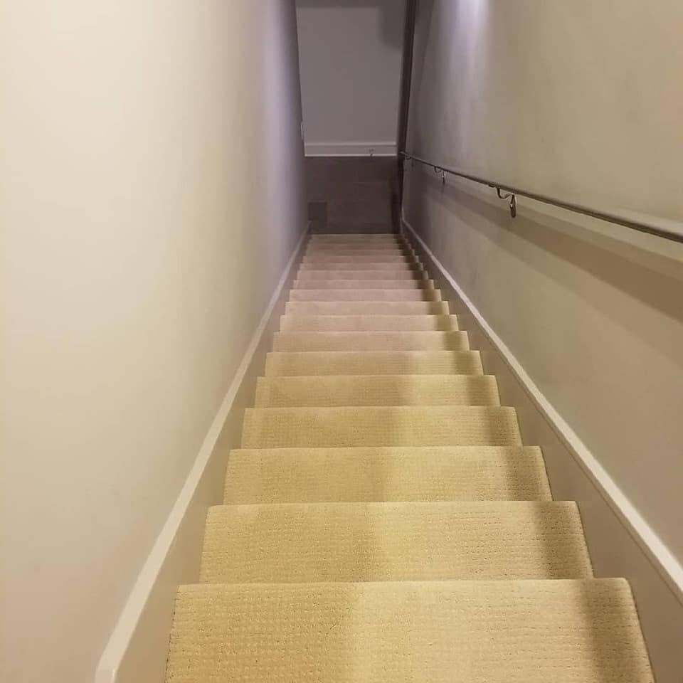 Stairway carpet installation in Spring, TX from Petra Flooring & Blinds