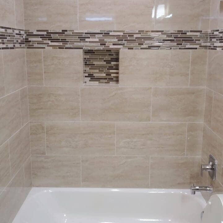 Custom recessed shelving in Bellaire, TX from Petra Flooring & Blinds