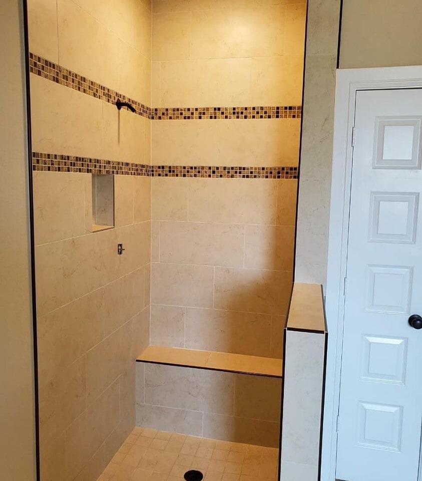 Custom shower installation in Sugar Land, TX from Petra Flooring & Blinds