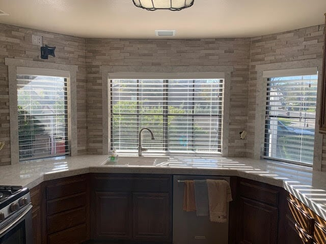 Glass tile backsplash and wall feature in Canyon Country, CA from Dave Walter Flooring Kitchens and Baths