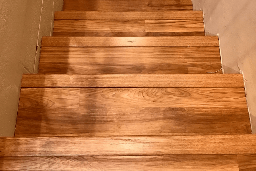 Wood look laminate stairs in Prescott, AZ from Prescott Flooring Brokers