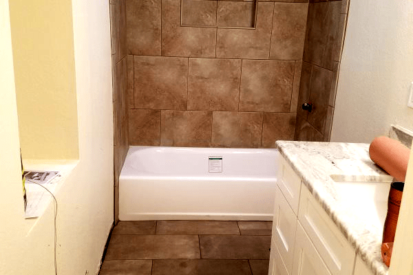 Classic tile flooring and shower in Prescott Valley, AZ from Prescott Flooring Brokers