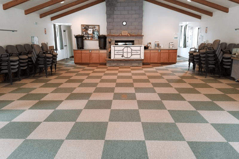 Checkered carpet tiles in commercial space in Sedona, AZ from Prescott Flooring Brokers