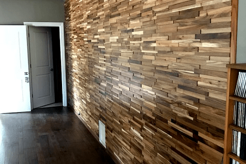 Hardwood wall feature from Prescott Flooring Brokers in Chino Valley, AZ