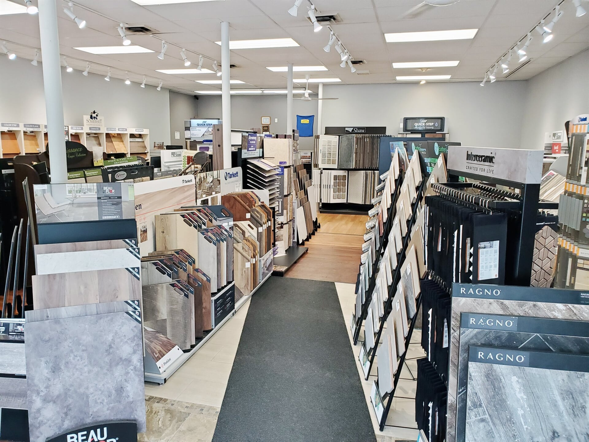 Our many flooring displays in the Amazing Hardwood Floors showroom in Bolton, CT