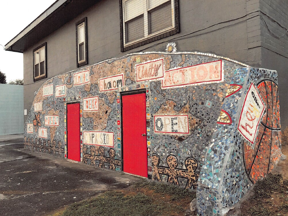 Community art wall with mosaic tile
