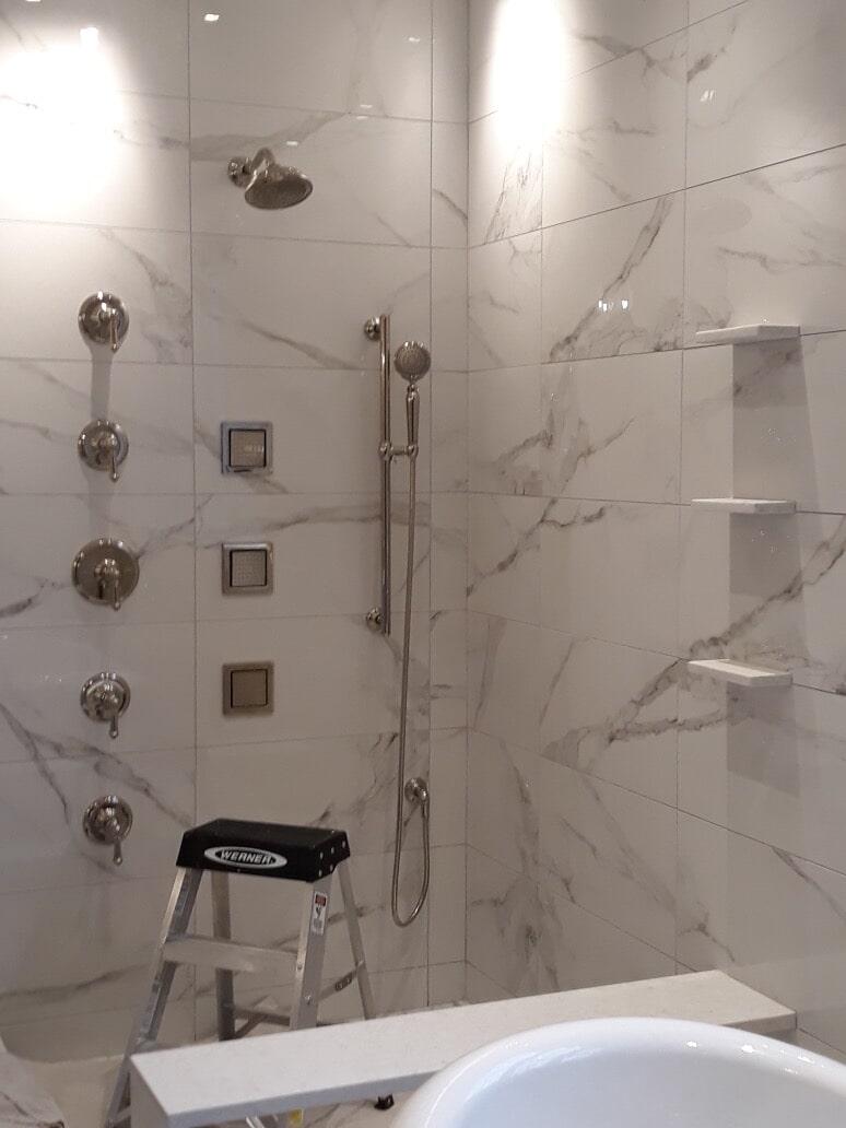 Modern marble shower in Hartford, CT from Custom Floors