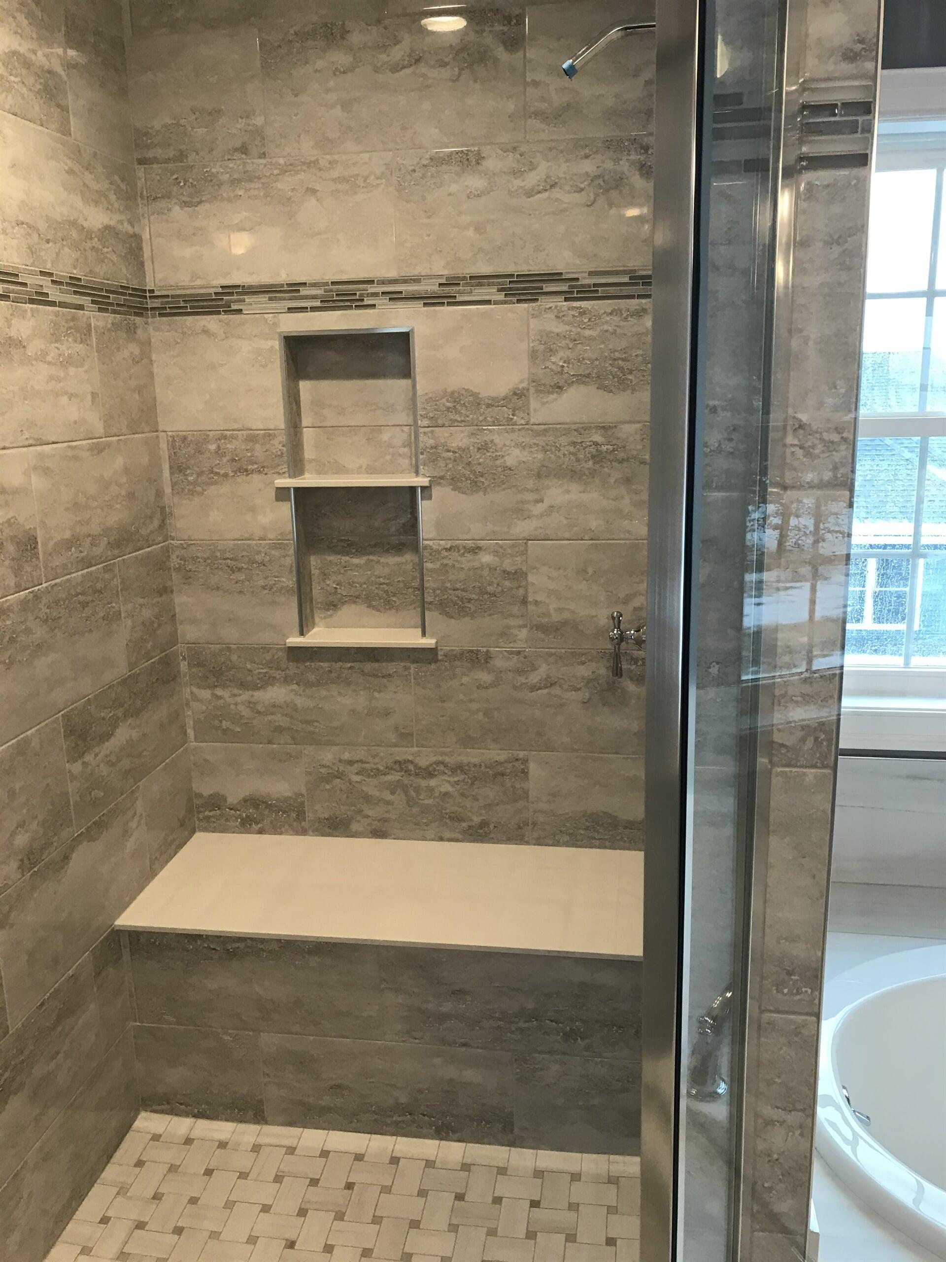 Custom built in shower shelving in Glastonbury, CT from Custom Floors