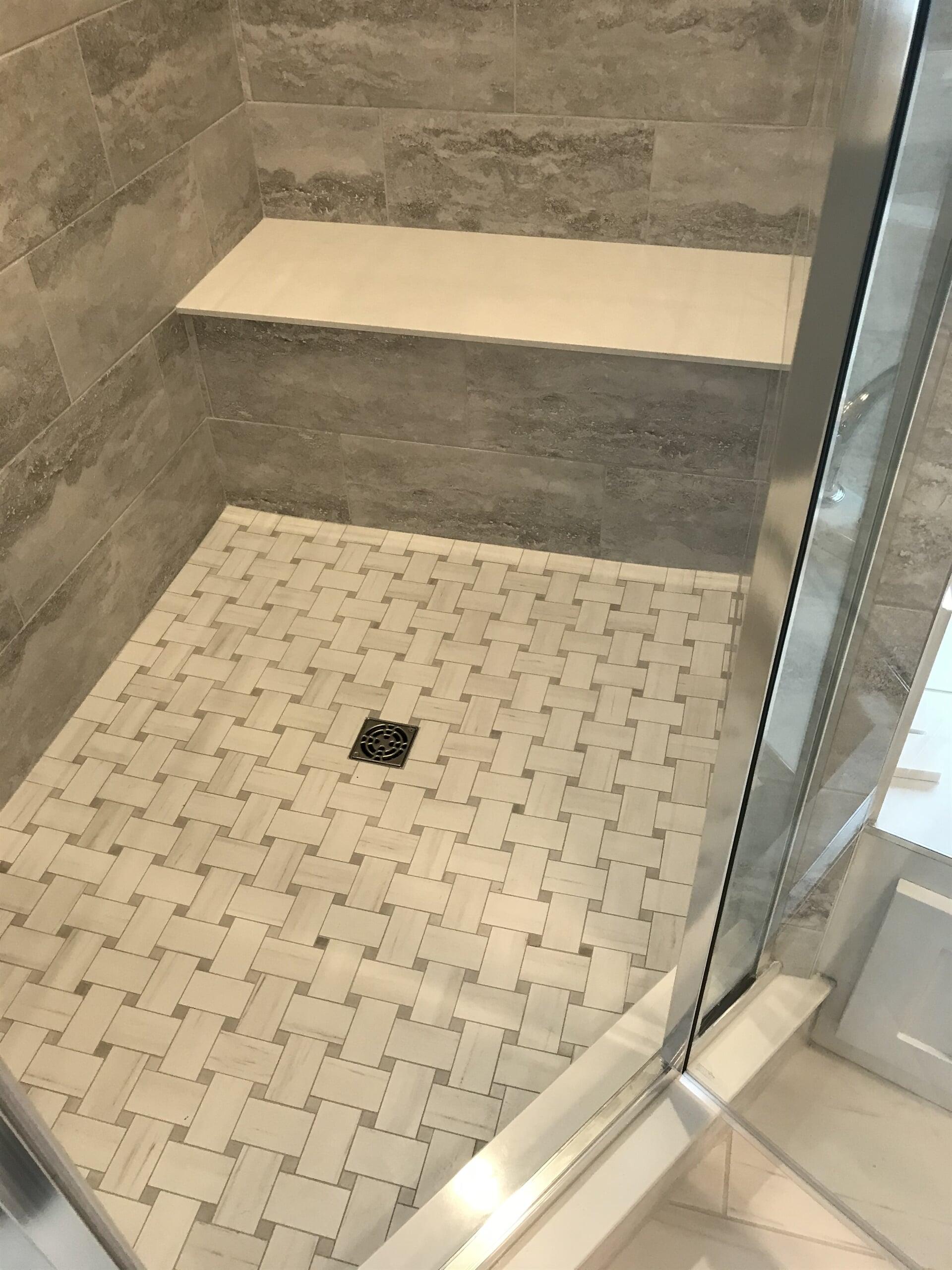 Custom tile shower floor in Glastonbury, CT from Custom Floors