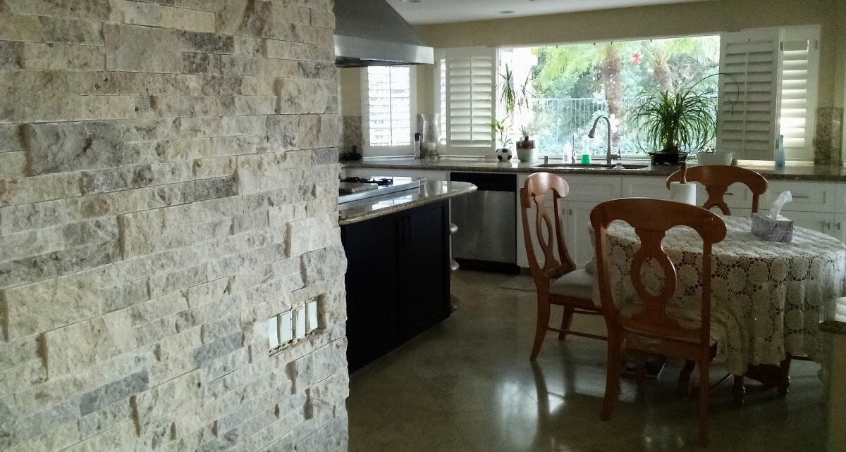 Stone accent wall installation in San Diego, CA from Savon Flooring