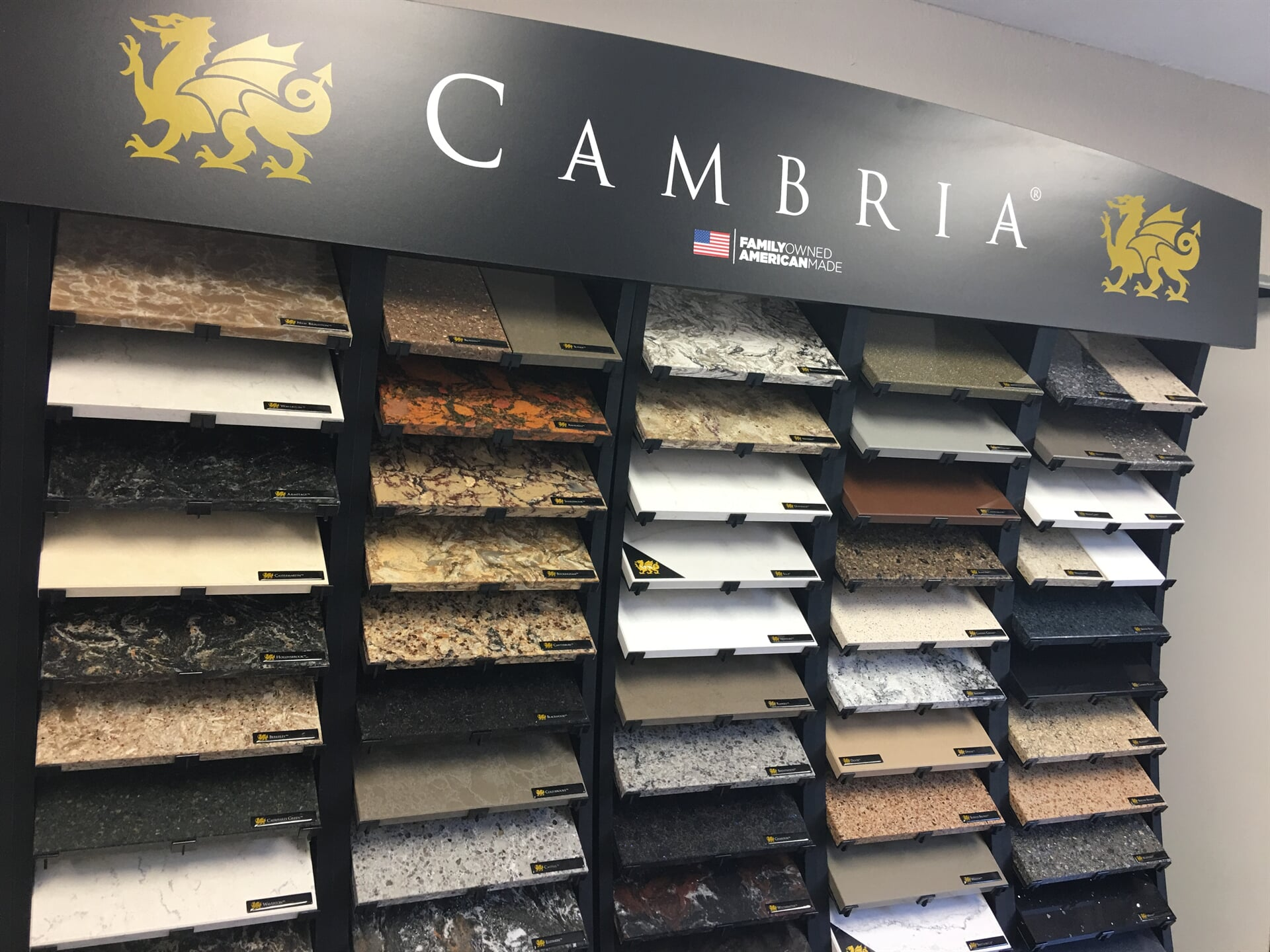 Our Cambria selection in our showroom