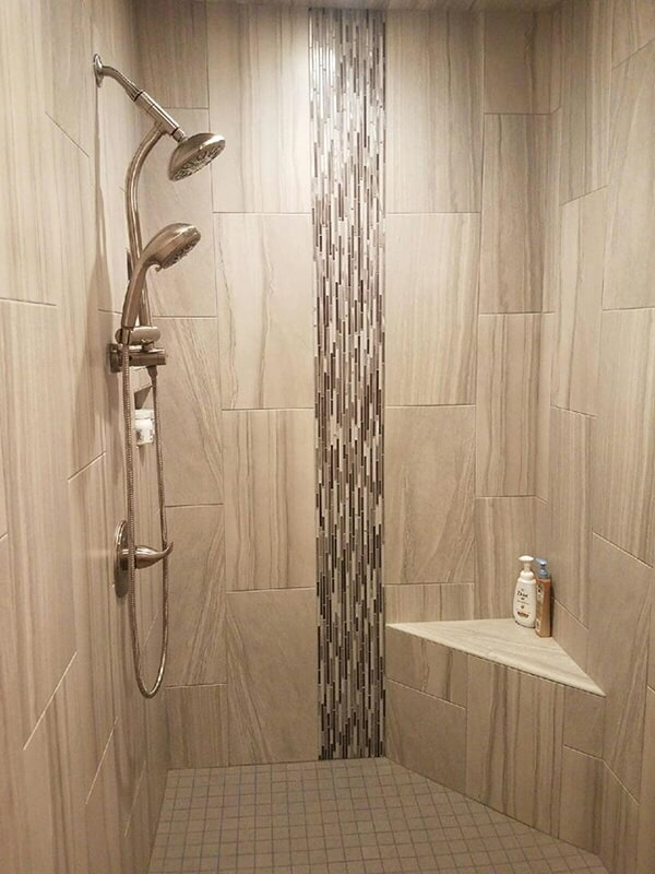 Tile and glass tile shower renovation in Wilson NC by Richie Ballance Flooring & Tile