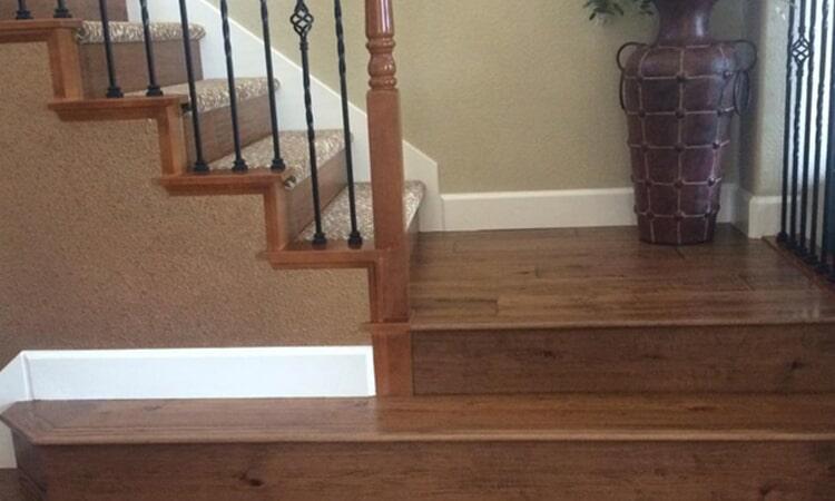 Custom stairway flooring from Central Valley Floor Design in Folsom, CA