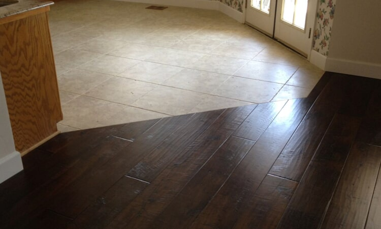 Flush hardwood and tile installation from Central Valley Floor Design in Granite Bay, CA