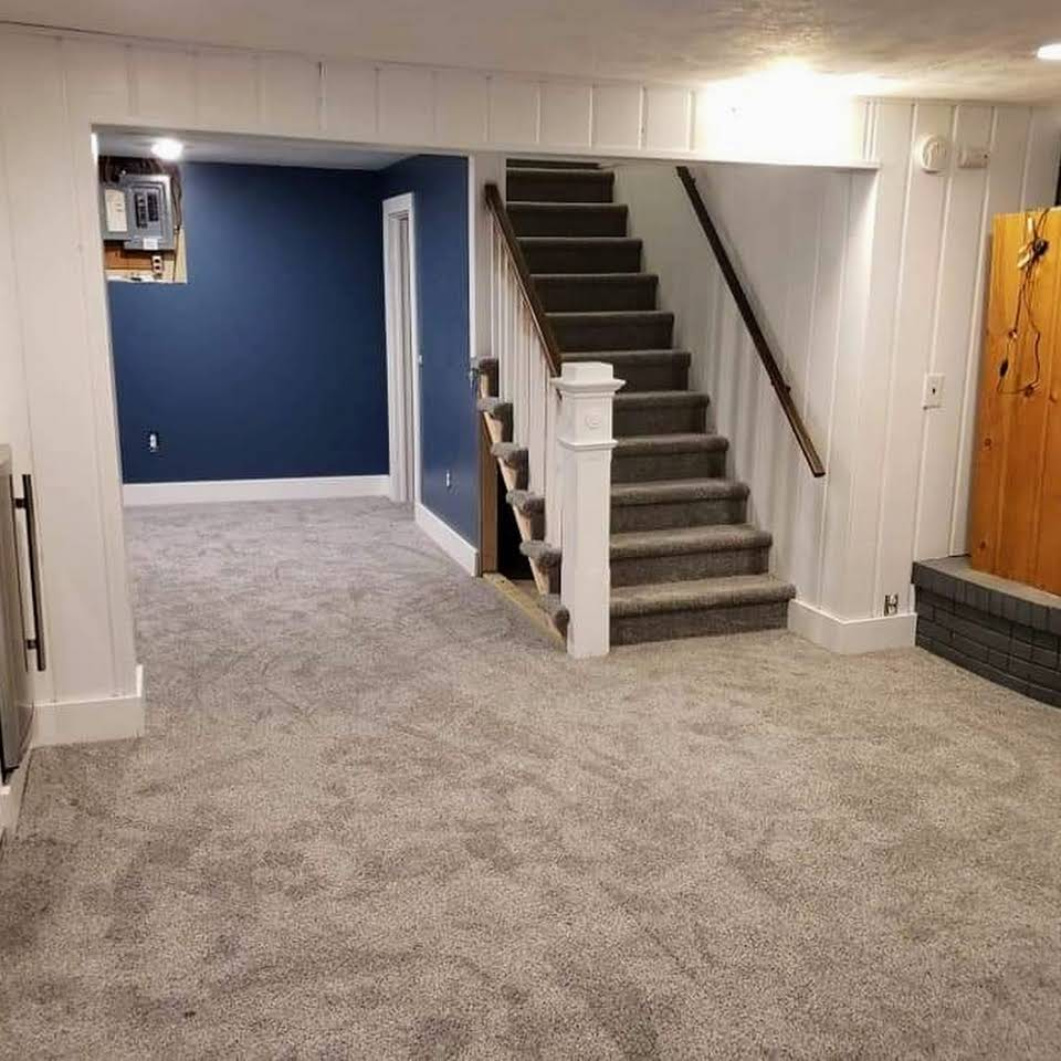 Carpet in a finished basement in Lansing, MI from Absolute Floor Covering