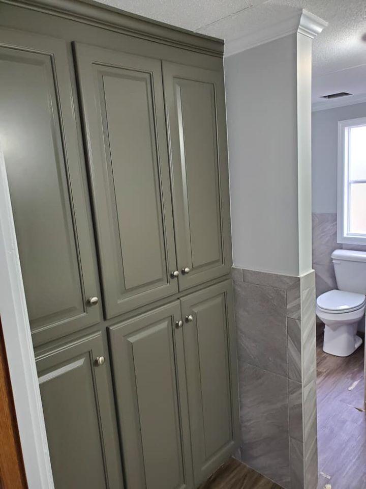 Gray bathroom cabinets in Wilson NC from Richie Ballance Flooring