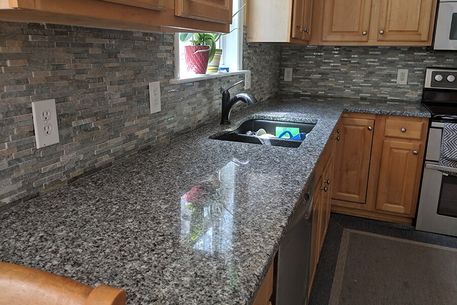 Beautiful countertops and backsplash in Smithfield, NC from Clayton Flooring Center