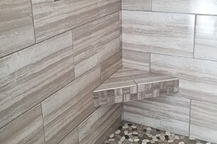 Custom glass tile mosaic backsplash in Newport, AR from Roops Carpet