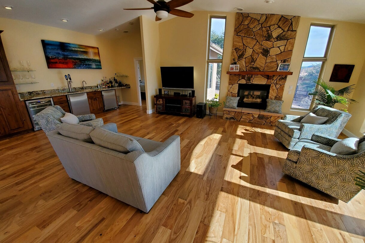 Redesigned living space with hardwood in Prescott Valley, AZ from Prescott Flooring Brokers